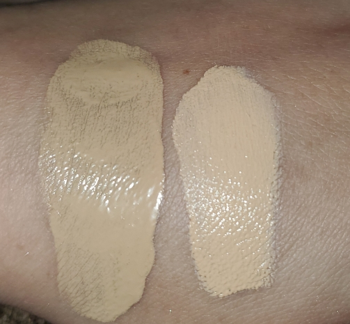 foundation on the left concealer on the right